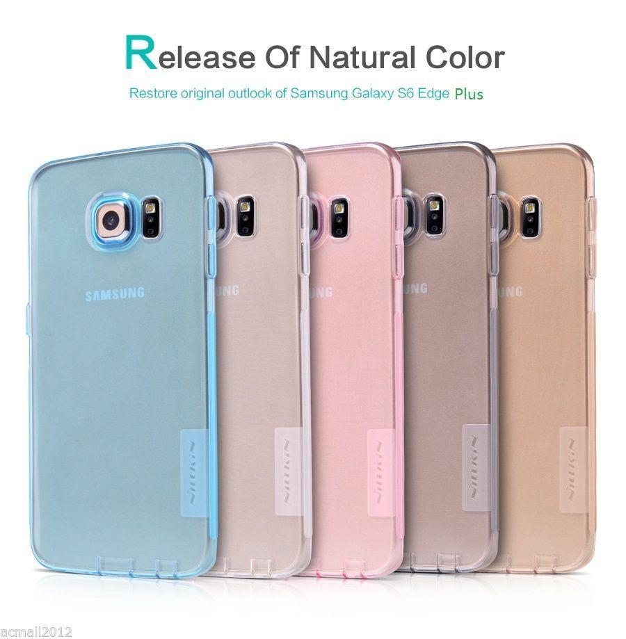 TPU чехол Nillkin Nature Series для Samsung Galaxy S6 Edge Plus Голубой (прозрачный)