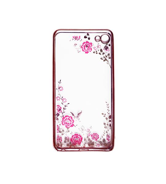Купить Прозрачный чехол с цветами и стразами для Meizu U20 с глянцевым бампером Розовый золотой/Розовые цветы, epik