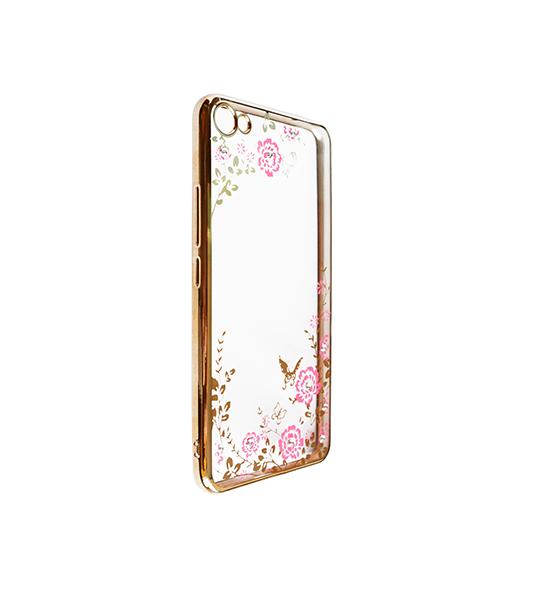 Купить Прозрачный чехол с цветами и стразами для Meizu U20 с глянцевым бампером Золотой/Розовые цветы, epik