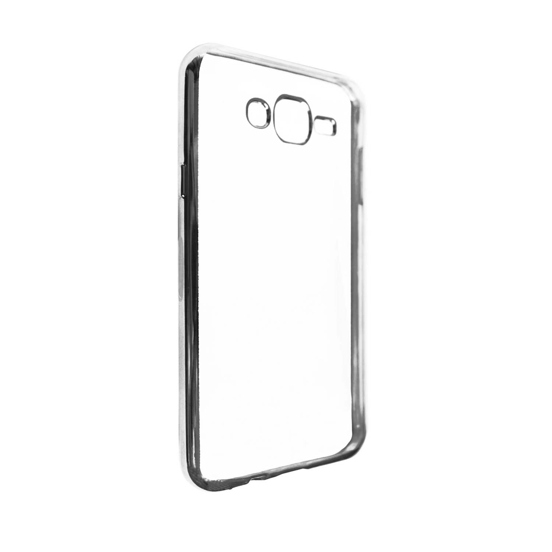 Купить Прозрачный силиконовый чехол для Samsung J700H Galaxy J7 с глянцевой окантовкой Серебряный, epik