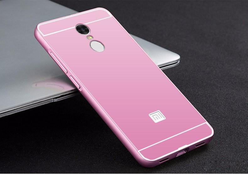 Купить Металлический бампер с акриловой вставкой для Xiaomi Redmi Note 4 Розовый, epik