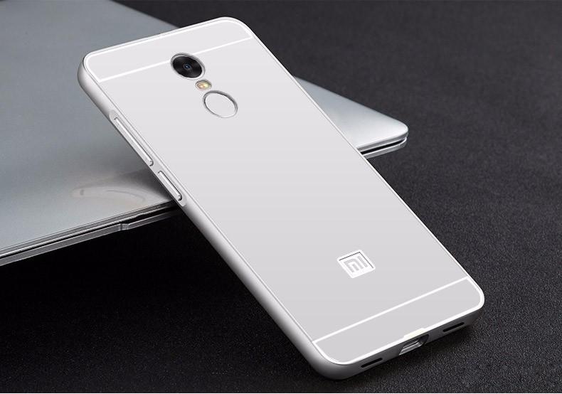 Купить Металлический бампер с акриловой вставкой для Xiaomi Redmi Note 4 Серебряный, epik