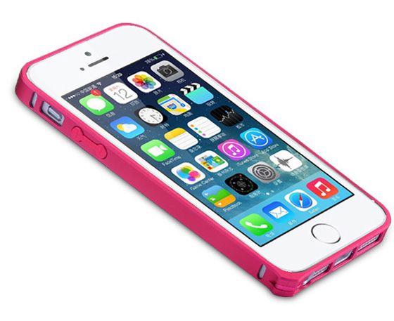 Металлический бампер Remax (винт) для Apple iPhone 5/5S/SE Малиновый