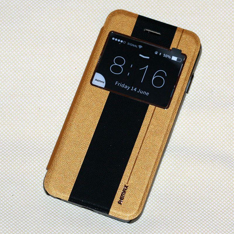 """Кожаный чехол (книжка) Remax Jean Series для Apple iPhone 6/6s (4.7"""") Голубой с черной полосой Вижница купить громкую связь для автомобиля"""