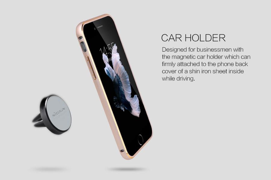 Купить Металлическая накладка + Автодержатель Nillkin для Apple iPhone 6/6s (4.7 ) Золотой