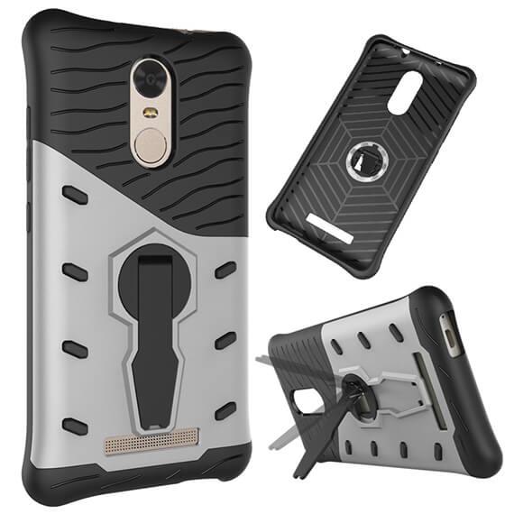 Купить Противоударный чехол Armored-case с функцией подставки для Xiaomi Redmi Note 3 / Redmi Note 3 Pro Серебряный