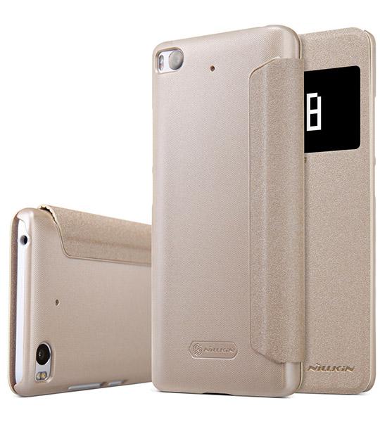 Купить Кожаный чехол (книжка) Nillkin Sparkle Series для Xiaomi Mi 5s Золотой