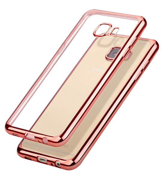 Купить Прозрачный силиконовый чехол для Samsung G570F Galaxy J5 Prime (2016) с глянцевой окантовкой Розовый, epik