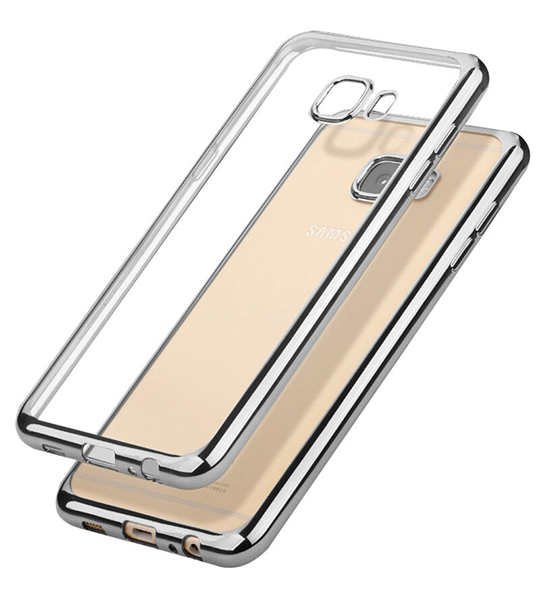 Прозрачный силиконовый чехол для Samsung G610F Galaxy J7 Prime (2016) с глянцевой окантовкой Серебряный, epik  - купить со скидкой
