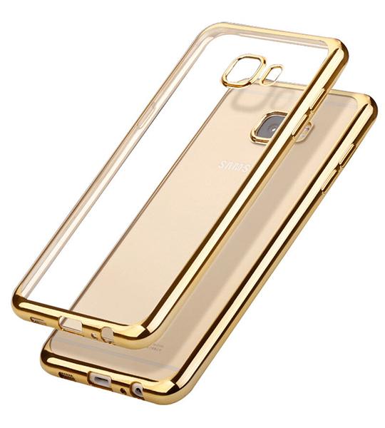Купить Прозрачный силиконовый чехол для Samsung G610F Galaxy J7 Prime (2016) с глянцевой окантовкой Золотой, epik