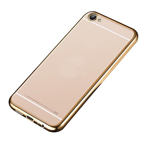 Купить Прозрачный силиконовый чехол для Meizu U20 с глянцевой окантовкой Золотой, epik