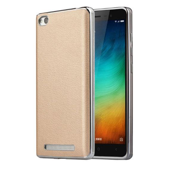Купить TPU чехол с классической кожаной вставкой для Xiaomi Redmi 3 Pro / Redmi 3s Золотой, epik