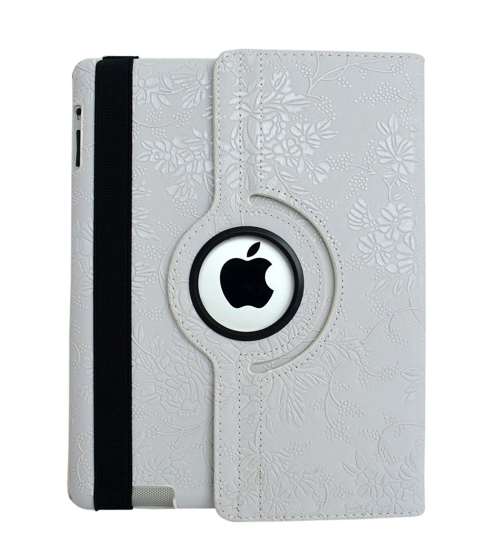 Купить Кожаный чехол-книжка TTX (Flower) (360 градусов) для Apple iPad Air 2 Белый