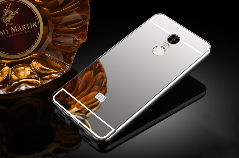 Купить Металлический бампер с акриловой вставкой с зеркальным покрытием для Xiaomi Redmi Note 4 Серебряный, epik