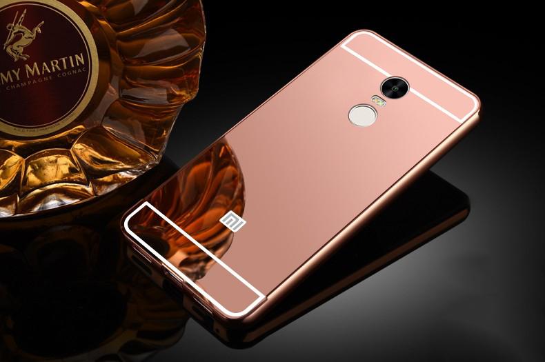 Купить Металлический бампер с акриловой вставкой с зеркальным покрытием для Xiaomi Redmi Note 4 Розовый, epik