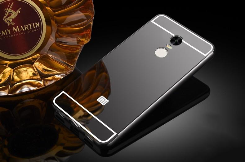Купить Металлический бампер с акриловой вставкой с зеркальным покрытием для Xiaomi Redmi Note 4 Черный, epik