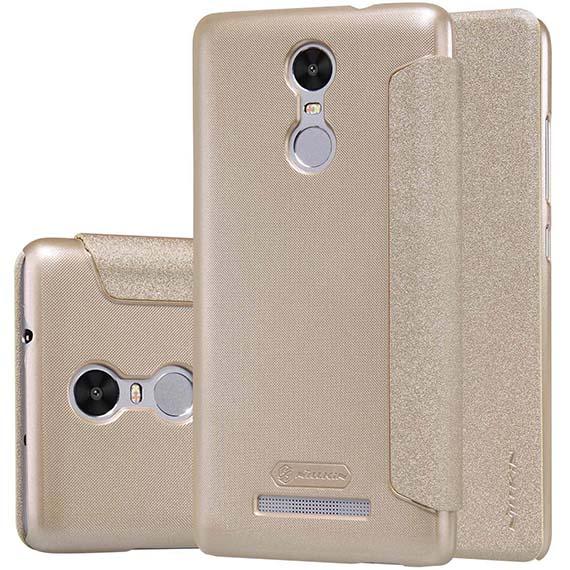 Купить Кожаный чехол (книжка) Nillkin Sparkle Series для Xiaomi Redmi Note 3 / Redmi Note 3 Pro Золотой