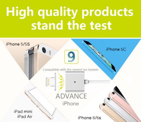Купить Магнитный кабель WSKEN X-cable Lightning для Apple iPhone 5/5s/5c/SE/6/6 Plus/6s/6s Plus /7/7 Plus Серебряный / Silver