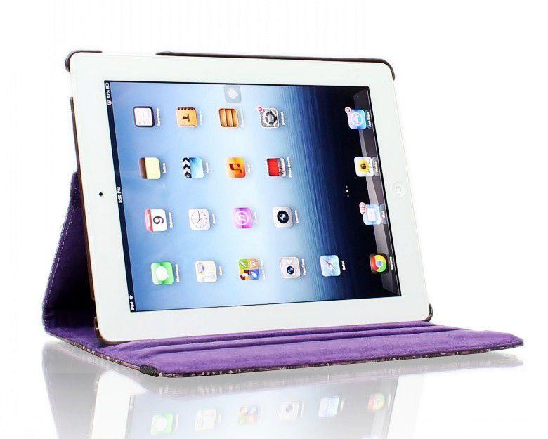 Купить Кожаный чехол-книжка TTX (Flower) (360 градусов) для Apple iPad Air 2 Сиреневый