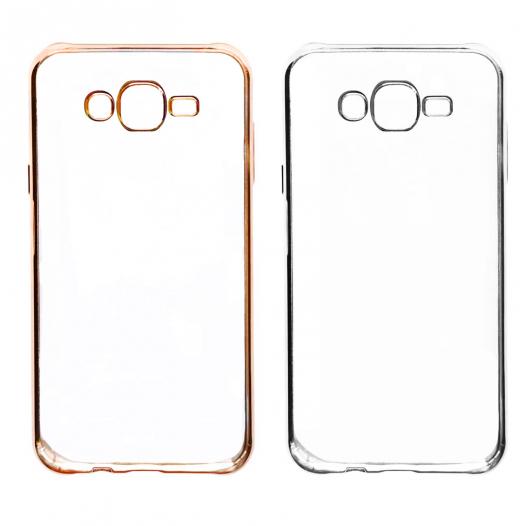 Прозрачный силиконовый чехол для Samsung J700H Galaxy J7 с глянцевой окантовкой