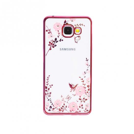 Прозрачный чехол с цветами и стразами для Samsung A510F Galaxy A5 (2016) с глянцевым бампером