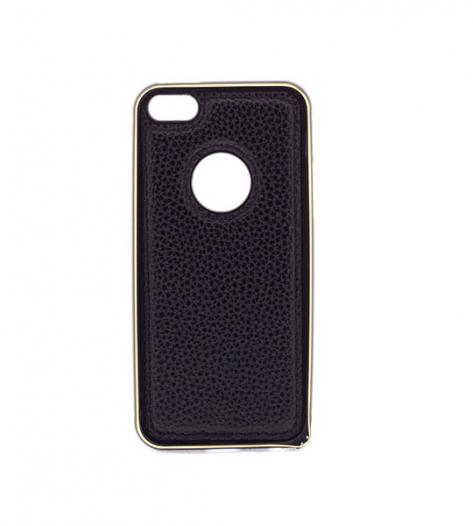 Металлический бампер с кожаной вставкой для Apple iPhone 5/5S/SE