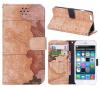 "Кожаный чехол-книжка Print ""World Map"" для Apple iPhone 6/6s (4.7"")"