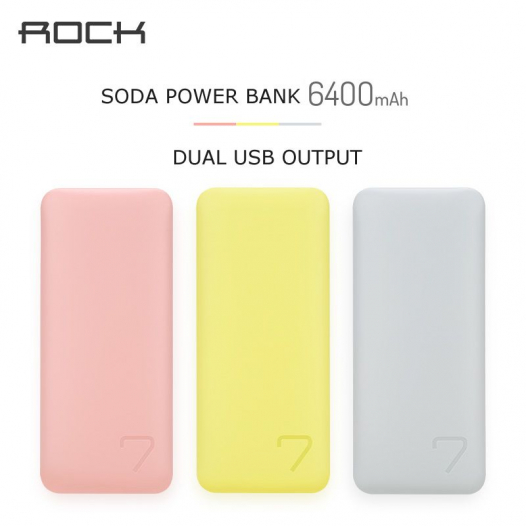 Дополнительный внешний аккумулятор Rock Soda Series (6400mAh)