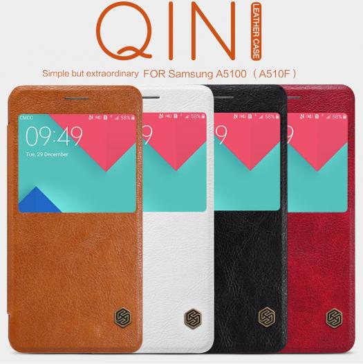 Кожаный чехол (книжка) Nillkin Qin Series для Samsung A510F Galaxy A5 (2016)