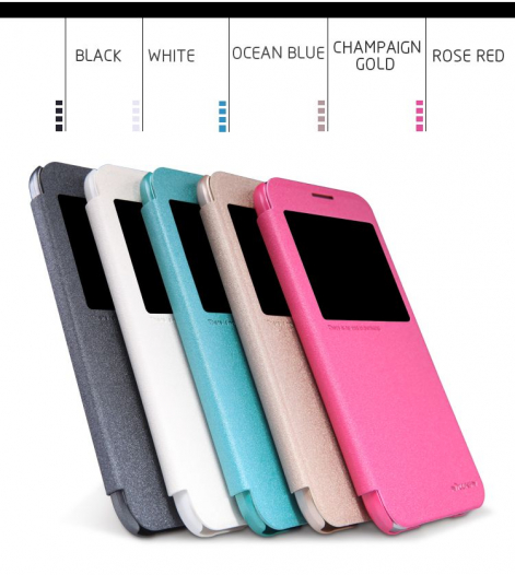 Кожаный чехол (книжка) Nillkin Sparkle Series для Samsung E500H/DS Galaxy E5