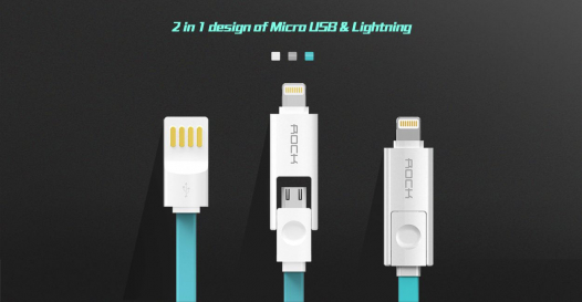 Кабель ROCK Lightning / MicroUSB Combo Flat 100cm (5V/2.1A)