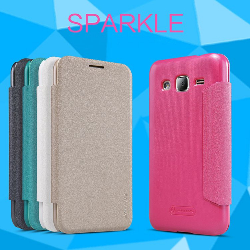 Кожаный чехол (книжка) Nillkin Sparkle Series для Samsung J200H Galaxy J2 Duos