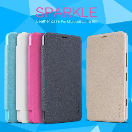 Кожаный чехол (книжка) Nillkin Sparkle Series для Microsoft Lumia 950