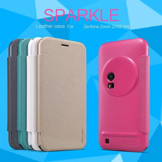 Кожаный чехол (книжка) Nillkin Sparkle Series для Asus Zenfone Zoom (ZX551ML)