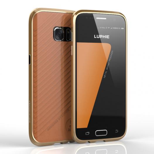 Алюминиевый бампер Luphie Blade Sword для Samsung G935F Galaxy S7 Edge +наклейка из кожи на з.панель