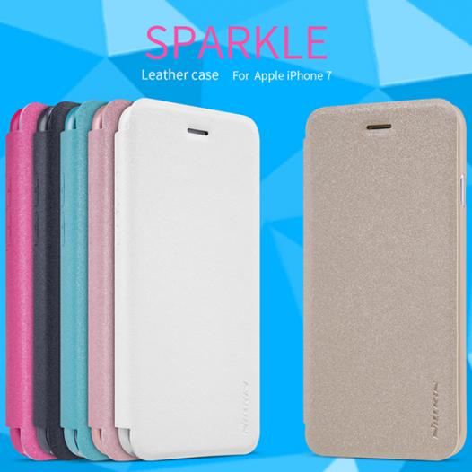Кожаный чехол (книжка) Nillkin Sparkle Series для Apple iPhone 7 (4.7