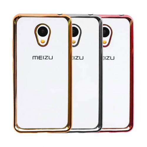 Прозрачный силиконовый чехол для Meizu M3 / M3 mini / M3s с глянцевой окантовкой