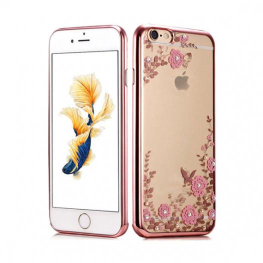 Прозрачный чехол с цветами и стразами для Apple iPhone 6/6s (4.7