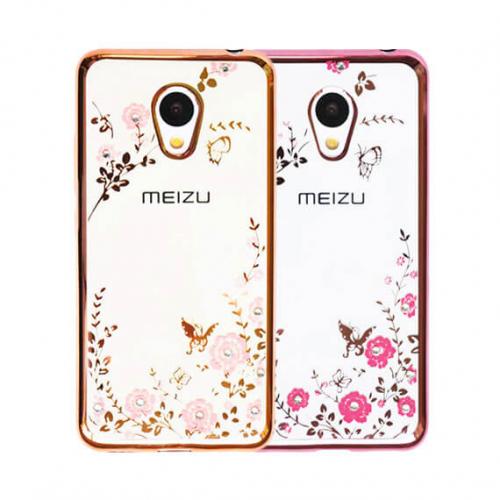 Прозрачный чехол с цветами и стразами для Meizu M3 / M3 mini / M3s с глянцевым бампером