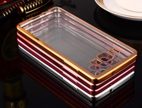 Прозрачный силиконовый чехол для Samsung A500H / A500F Galaxy A5 с глянцевой окантовкой