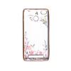 Прозрачный чехол с цветами и стразами для Xiaomi Redmi 3 Pro / Redmi 3s с глянцевым бампером