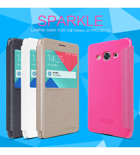 Кожаный чехол (книжка) Nillkin Sparkle Series для Samsung J310 Galaxy J3 Pro