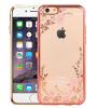 Прозрачный чехол с цветами и стразами для Apple iPhone 5/5S/SE с глянцевым бампером