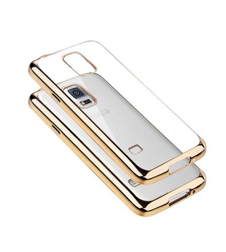 Прозрачный силиконовый чехол для Samsung G900 Galaxy S5 с глянцевой окантовкой