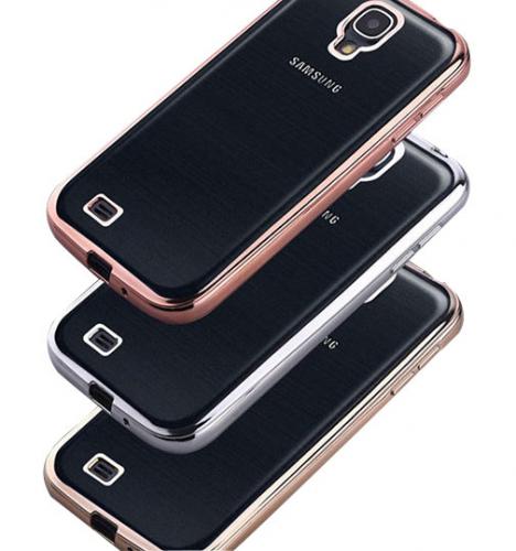 Прозрачный силиконовый чехол для Samsung i9500 Galaxy S4 с глянцевой окантовкой