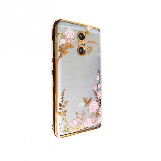 Прозрачный чехол с цветами и стразами для Xiaomi Redmi Pro с глянцевым бампером