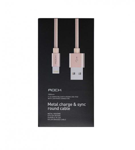 Кабель ROCK Lightning (Metal & Leather) для Apple iPhone 6/6 plus/5/5S/5C/SE
