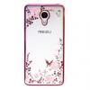 Прозрачный чехол с цветами и стразами для Meizu M3 Note с глянцевым бампером