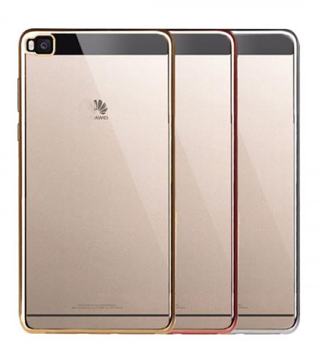 Прозрачный силиконовый чехол для Huawei P8 Lite с глянцевой окантовкой