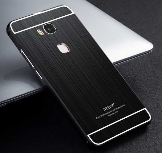 Металлический бампер с акриловой вставкой Msvii для Huawei Honor 5X / GR5 (+стекло на экран)